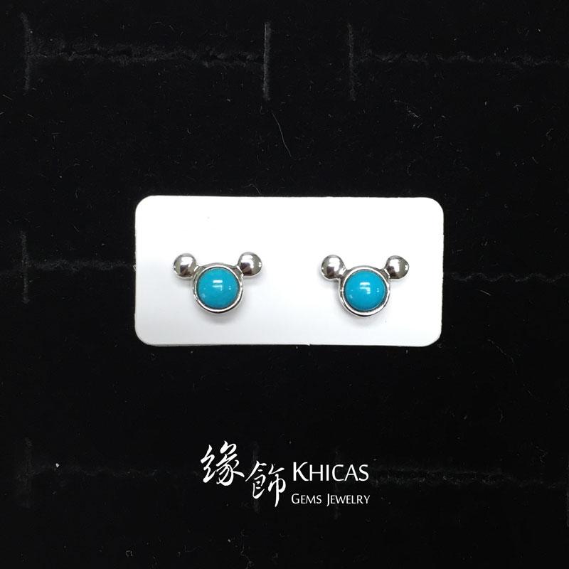 美國綠松石 米奇耳環 Turquoise Earrings EA160132 @ Khicas Gems 緣飾