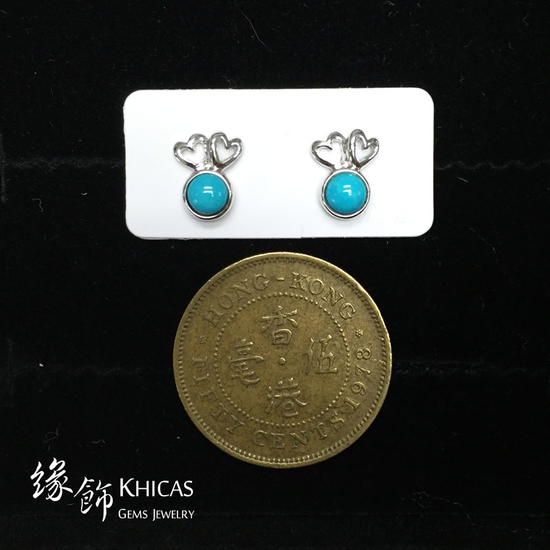 美國綠松石 心心雙印耳環 Turquoise Earrings EA160133 @ Khicas Gems 緣飾