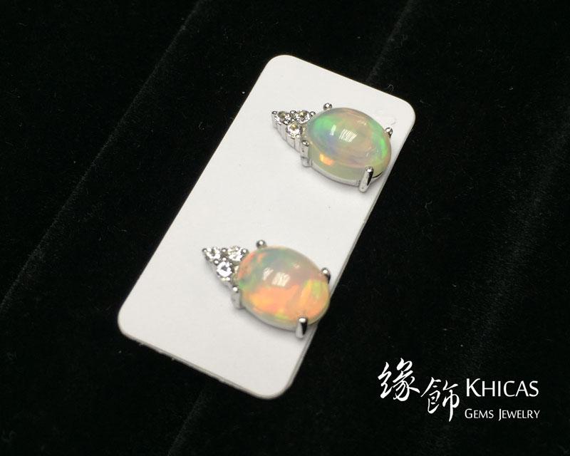 澳寶石 / 閃山雲 四爪橢圓形耳環 Opal Earrings EA160142 @ Khicas Gems 緣飾
