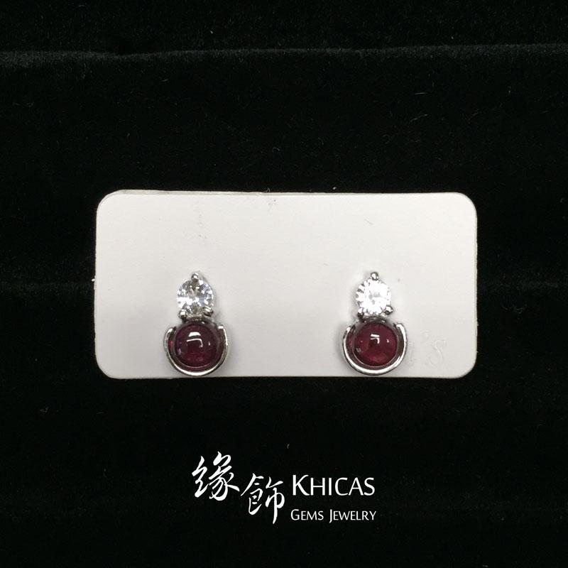 酒紅石榴石 小圓釘耳環 Garnet Earrings EA160148 @ Khicas Gems 緣飾