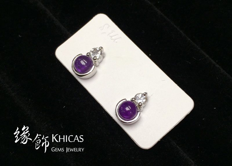 紫水晶 小圓釘耳環 Amethyst Earrings EA160155 @ Khicas Gems 緣飾