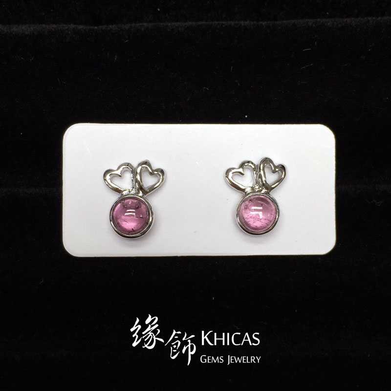 紅碧璽 心心雙印耳環 Rubellite Red Tourmaline Earrings EA160160 @ Khicas Gems 緣飾