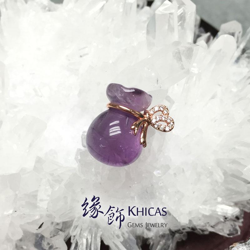 巴西紫水晶 925 銀渡玫瑰金蝴蝶結錢袋吊墜 Amethyst Pendant P1410009 @ Khicas Gems 緣飾