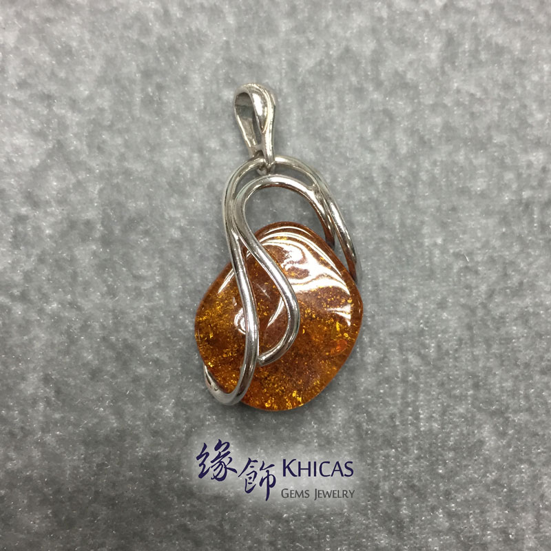 波羅的海琥珀銀線吊咀 Amber P1410087 Khicas Gems 緣飾