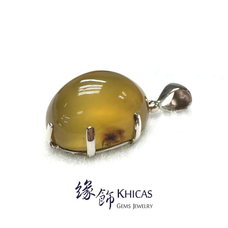 印尼 Sumatra 藍琥珀橢圓形吊墜 Amber Pendant P1410118 Khicas Gems 緣飾