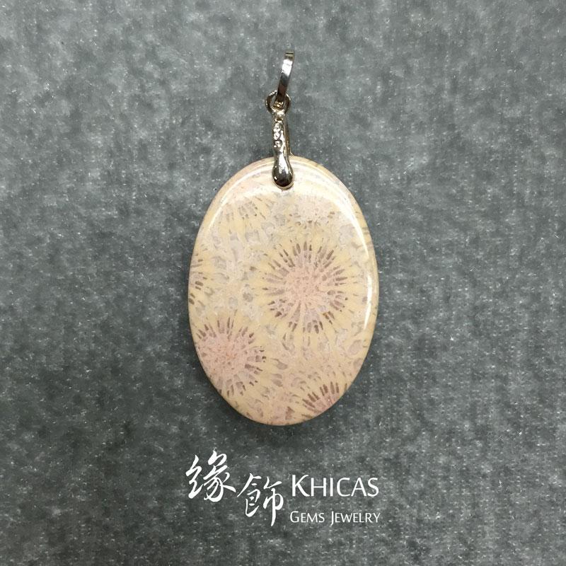 印尼 3A+ 珊瑚玉化石吊咀 Coral Jade Pendant P1410136 @ Khicas Gems 緣飾