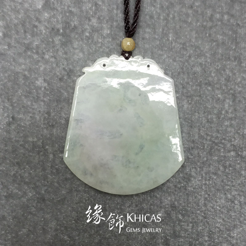緬甸A玉 冰種雕龍玉吊墜 Jade Pendant P1410160 @ Khicas Gems 緣飾