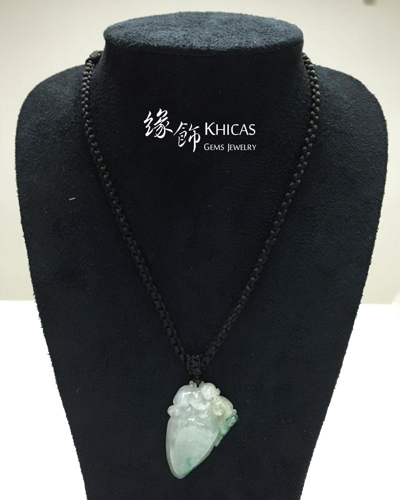 緬甸A玉 猴子壽桃糯冰玉吊墜 Jade Pendant P1410180 @ Khicas Gems 緣飾