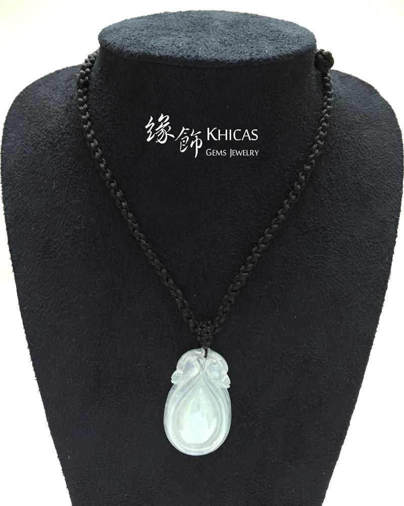 緬甸A玉 雙龍戲珠白冰種玉吊墜 Jade Pendant P1410181 @ Khicas Gems 緣飾