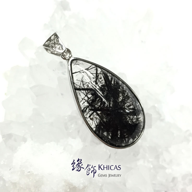巴西 5A+ 黑髮晶 925 銀框吊墜 Black Rutilated Quartz Pendant P1410224 @ Khicas Gems 緣飾