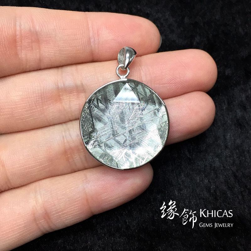 天鐵鎳鐵隕石 大衛星鍍白金雙面包白水晶吊墜(中) Meteorite Pendant P1410345 @ Khicas Gems 緣飾