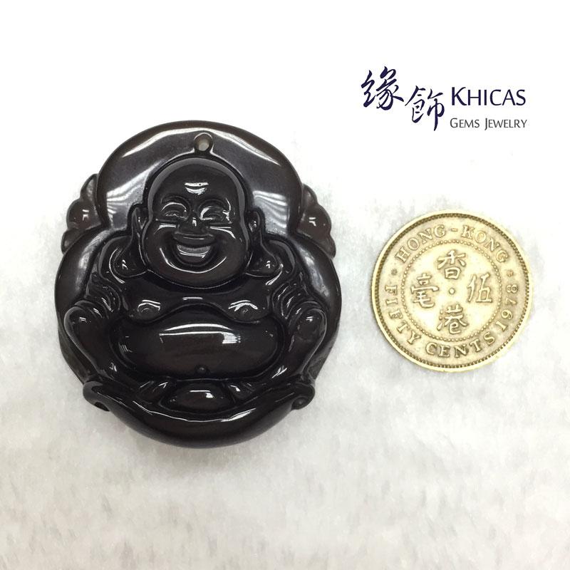 墨西哥 4A+ 冰彩黑曜石元寶佛公吊墜 Obsidian Pendant P1410431 @ Khicas Gems 緣飾