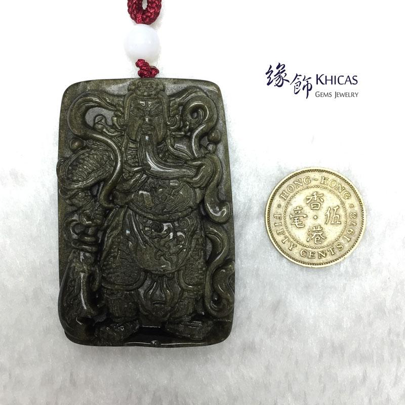 墨西哥 4A+ 金曜石雕關公吊牌(大)Gold Obsidian Pendant P1410434 @ Khicas Gems 緣飾