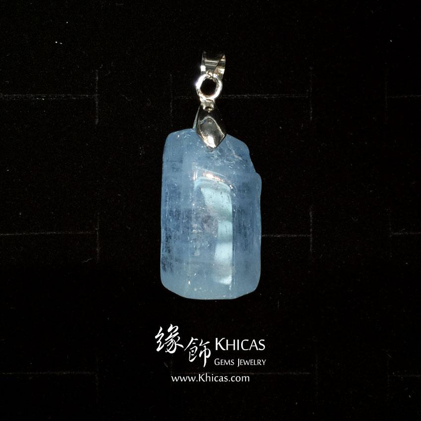 巴西 4A+ 海藍寶原礦 / 原石吊墜 16x12x26mm Aquamarine Pendant P1410530 @ Khicas Gems 緣飾