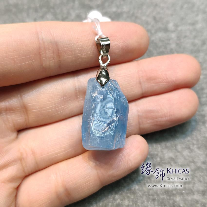 巴西 4A+ 海藍寶原礦 / 原石吊墜 16x15x24mm Aquamarine Pendant P1410531 @ Khicas Gems Jewelry 緣飾天然水晶
