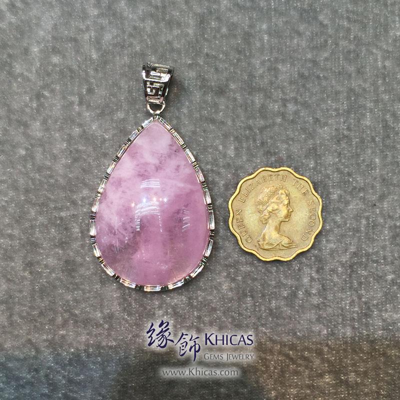 巴西 4A+ 粉紅摩根石 水滴形純銀框吊墜 Morganite Pendant P1410714 @ Khicas Gems 緣飾
