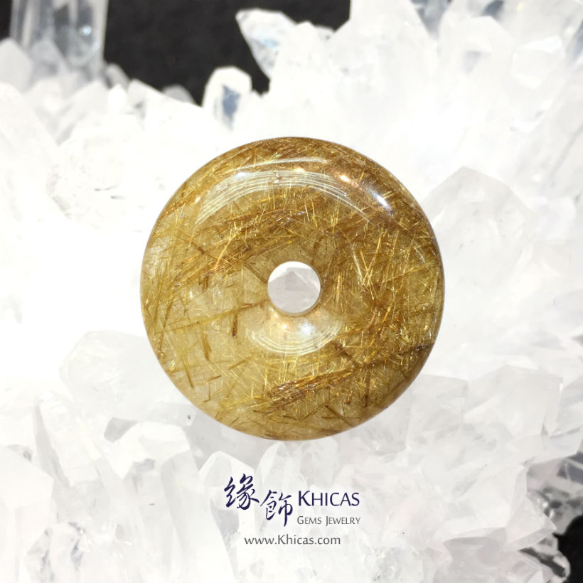 巴西 4A+ 金髮晶平安扣吊墜 Gold Rutilated Quartz Pendant P1410729 @ Khicas Gems Jewelry 緣飾天然水晶