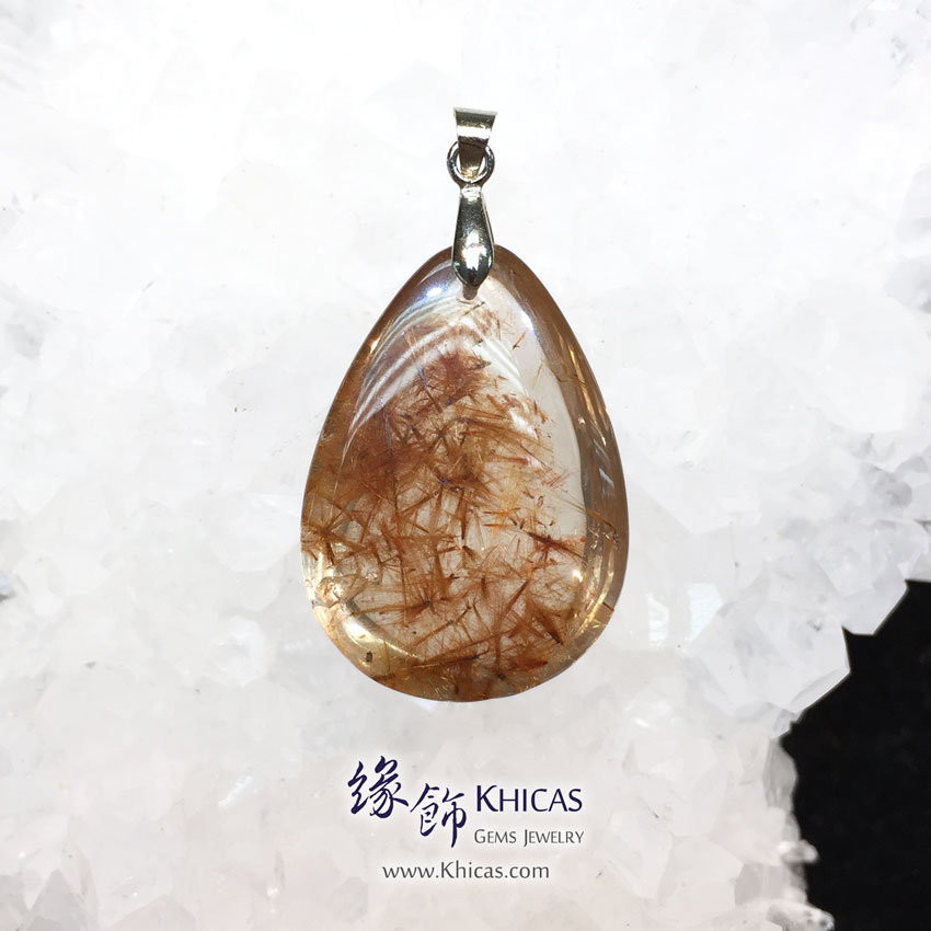巴西 4A+ 菊花金髮晶吊墜 Gold Rutilated Quartz Pendant P1410960 @ Khicas Gems 緣飾