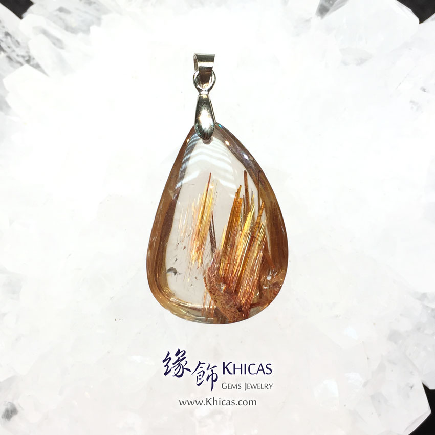 巴西 5A+ 金鈦晶吊墜 Gold Rutilated Quartz Pendant P1410961 @ Khicas Gems 緣飾