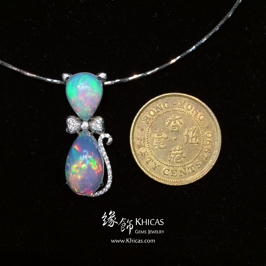 澳洲澳寶石(閃山雲)鑲925純銀鍍白金吊墜 Opal Pendant P1411023 @ Khicas Gems 緣飾