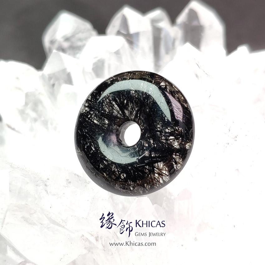 巴西黑髮晶平安扣吊墜 ~21.6x6.7mm Black Rutilated Quartz Pendant P1411741 @ Khicas Gems Jewelry 緣飾天然水晶