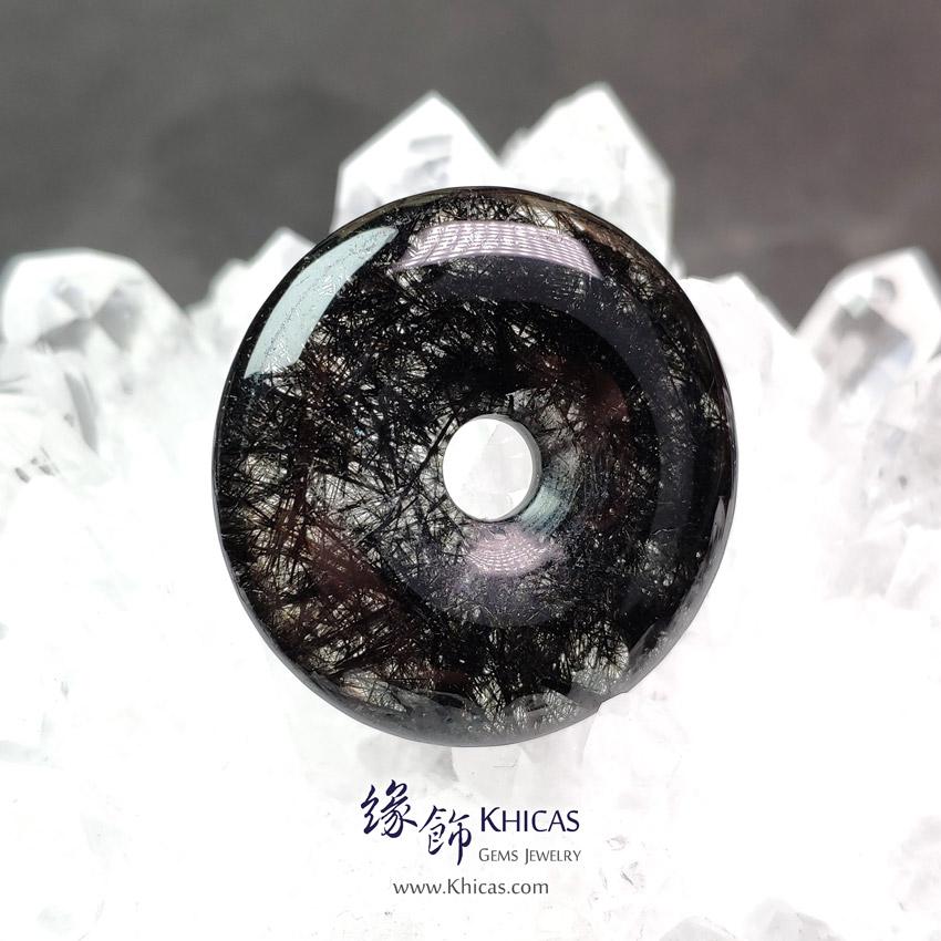巴西黑髮晶平安扣吊墜 ~33.0x6.8mm Black Rutilated Quartz Pendant P1411744 @ Khicas Gems Jewelry 緣飾天然水晶
