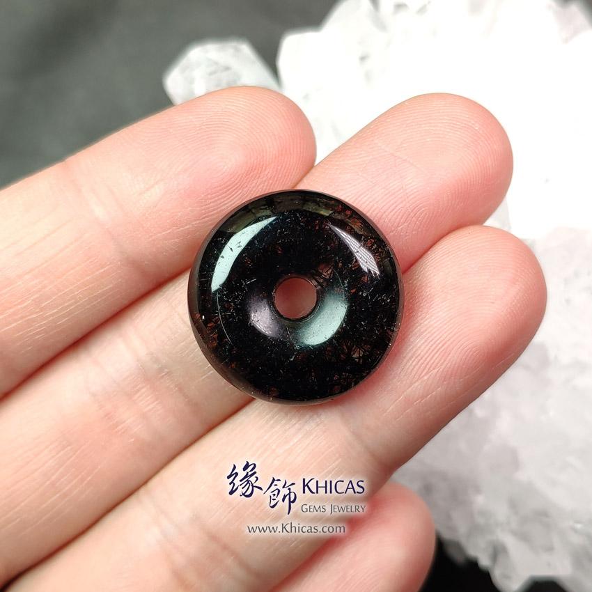 巴西黑髮晶平安扣吊墜 ~21.4x7.4mm Black Rutilated Quartz Pendant P1411746 @ Khicas Gems Jewelry 緣飾天然水晶