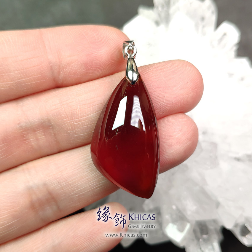 巴西 5A+ 玻璃種石榴石吊墜 17.8x32.8x8.3mm Orange Garnet Pendant P1411747 @ Khicas Gems Jewelry 緣飾天然水晶
