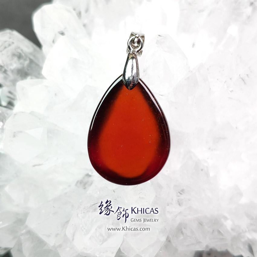 巴西 5A+ 玻璃種石榴石水滴形吊墜 16.5x22.5x8.2mm Orange Garnet Pendant P1411749 @ Khicas Gems Jewelry 緣飾天然水晶
