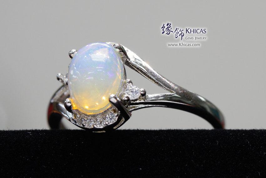 澳洲澳寶石(閃山雲)鑲925銀鍍白金戒指 Opal Rings RG17217-3 @ Khicas Gems 緣飾