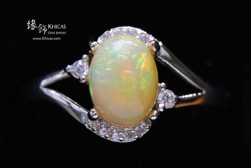 澳洲澳寶石(閃山雲)鑲925銀鍍白金戒指 Opal Rings RG17217-4 @ Khicas Gems 緣飾