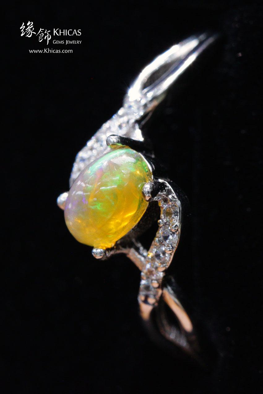 澳洲澳寶石(閃山雲)鑲925銀鍍白金戒指 Opal Rings RG17218 @ Khicas Gems 緣飾
