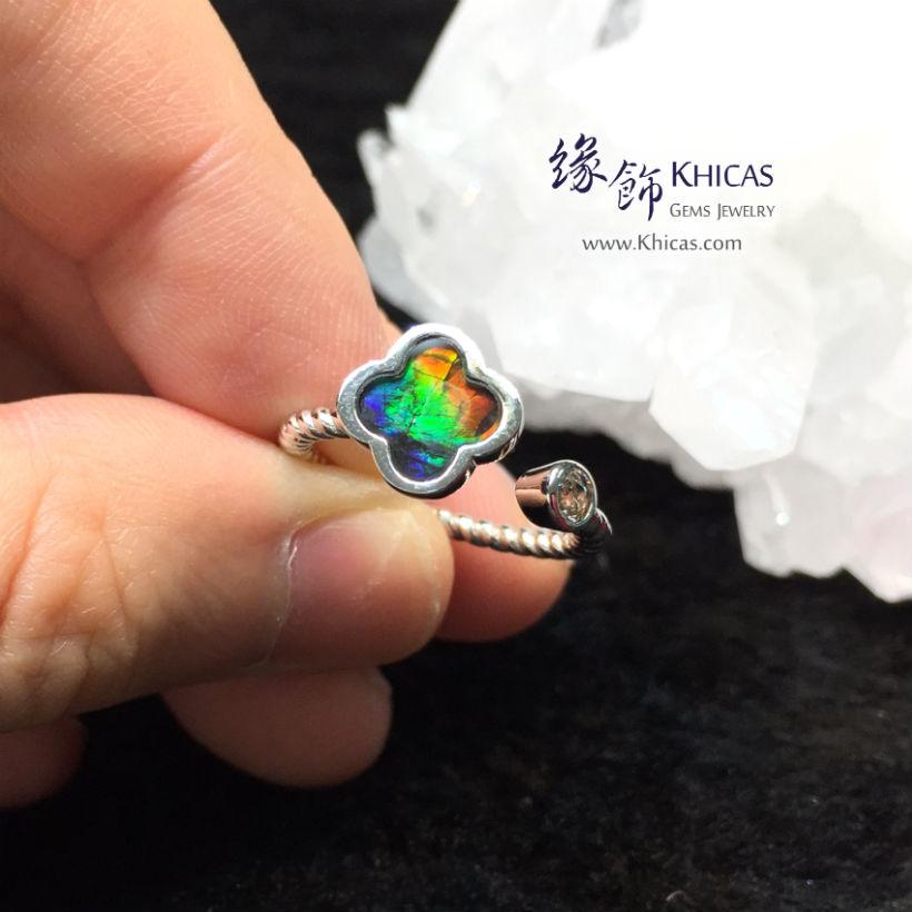 加拿大斑彩石鑲四葉草銀戒指 Ammolite Rings RG17301 @ Khicas Gems Jewelry 緣飾天然水晶